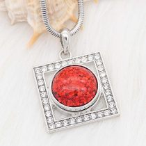 20MM design snap Silver Plated Red Glittering resin KC2226
