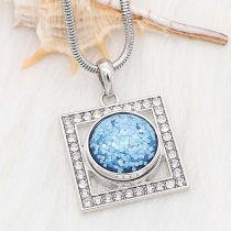 20MM design snap Silver Plated blue Glittering resin KC2232