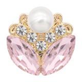 20MM Flower Design Snap vergoldet Pink Strass und Perle KC8264