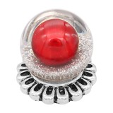 20MM Glossy Spherical opal snap Silver Plated with Red Pearl KC8275