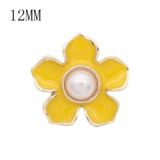 12MM Flower design snap plaqué or émail jaune KS7181-S