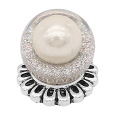 20MM Glossy Spherical opal snap Silver Plated with white Pearl KC8270