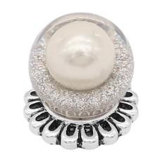 20MM Glossy Spherical Opal Snap Versilbert mit weißer Perle KC8270
