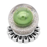 20MM Glossy Spherical opal snap Silver Plated with green Pearl KC8271