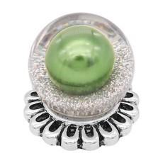 20MM Glossy Spherical Opal Snap Versilbert mit grüner Perle KC8271