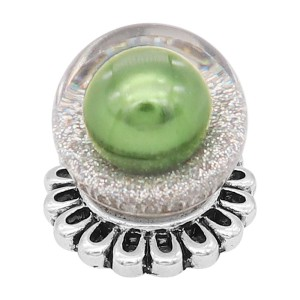 Глянцевая сферическая защелка на 20 мм, посеребренная с зеленой жемчужиной KC8271