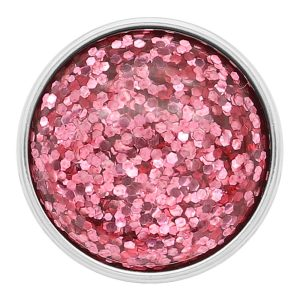 20MM design snap Silver Plated Pink Glittering résine KC2231
