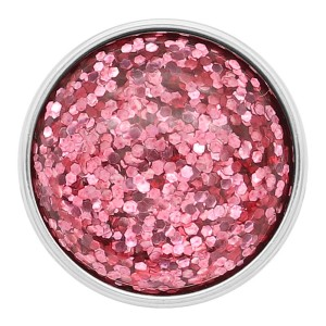 20MM design snap Silver Plated Pink Glittering resin KC2231