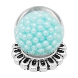20MM Glossy Spherical opal snap Silver Plated with blue Pearl KC8277