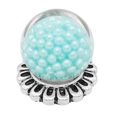 20MM Glossy Spherical Opal Snap Versilbert mit blauer Perle KC8277