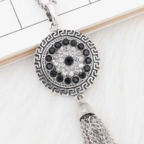 20MM snap silver Plated with black Rhinestone KC8268