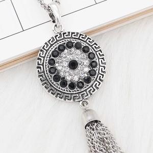 20 mm de plata chapada con diamantes de imitación negros KC8268
