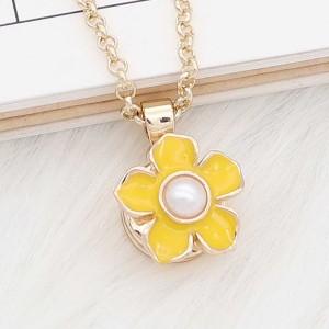 12MM Flower design snap gold Plated Yellow enamel KS7181-S