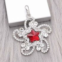 20MM star snap Silver Plated with red Rhinestone charms KC9382 snaps jewerly