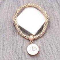 20MM loveheart snap gold rose Chapado con encantos de esmalte blanco y diamantes de imitación KC9363 se ajusta a presión