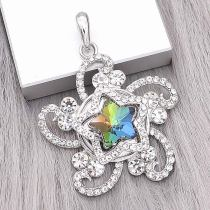 20MM star snap Silver Plated with  Multicolor  Rhinestone charms KC9385 snaps jewerly