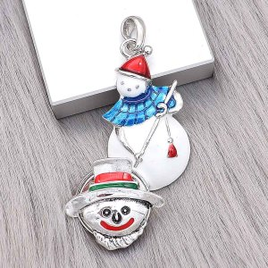 20MM Christmas snap Silver Plated with  Enamel charms KC9362 snaps jewerly