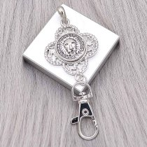 snap sliver Pendant with Rhinestone fit 20MM snaps style jewelry KC0493