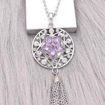 Broche de estrella 20MM Plateado con encantos de diamantes de imitación morados KC9395 se ajusta a presión