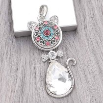20MM design snap Silver Plated with rose-red  Rhinestone charms KC9364 snaps jewerly