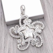 snap sliver Pendant with Rhinestone fit 20MM snaps style jewelry KC0497