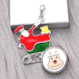 snap sliver Christmas enamel Pendant fit 20MM snaps style jewelry KC0489