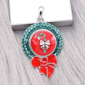 20MM Christmas snap Silver Plated with Rhinestoneand Enamel charms KC9355 snaps jewerly
