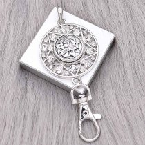 snap sliver Pendant with Rhinestone fit 20MM snaps style jewelry KC0492