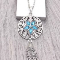 Broche de estrella 20MM Plateado con encantos de diamantes de imitación azules KC9394 se ajusta a presión