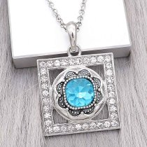 20MM design snap Silver Plated with blue Rhinestone charms KC9376 snaps jewerly