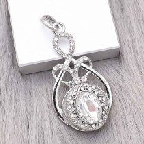 snap sliver Pendant with Rhinestone fit 20MM snaps style jewelry KC0495