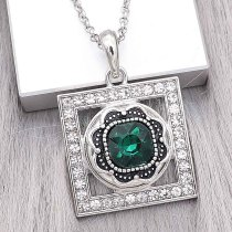 20MM design snap Silver Plated with dark green Rhinestone charms KC9379 snaps jewerly