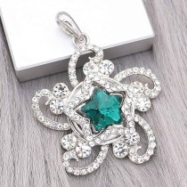 20MM star snap Silver Plated with green Rhinestone charms KC9386 snaps jewerly