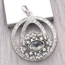 snap sliver Pendant with Rhinestone fit 20MM snaps style jewelry KD0303
