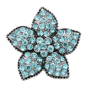 20MM Starfish Snap Versilbert mit blauen Strass Charms KC9416
