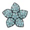 20MM Starfish snap Silver Plated with blue Rhinestone charms KC9416