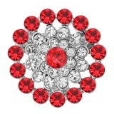 20MM snap silver Plated with Red Rhinestone KC8279