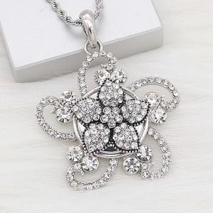 20MM Starfish snap Plateado con encantos de diamantes de imitación blancos KC9415