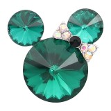 20MM Cartoon snap Silver Plated with green Rhinestone charms KC8284