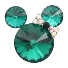 Broche de dibujos animados de 20 mm plateado con encantos de diamantes de imitación verdes KC8284