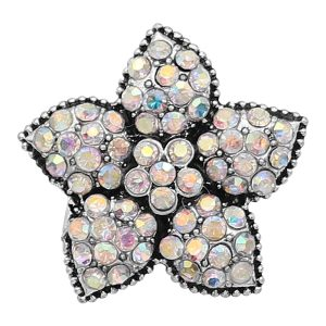 20MM Starfish Snap Versilbert mit Multicolor Strass Charms KC9417