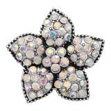 20MM Snap Starfish plaqué argent avec charms strass multicolore KC9417