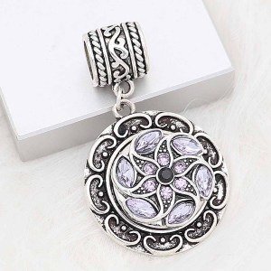 20MM snap silver Plated with purple Rhinestone KC8281
