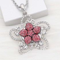 20MM Starfish snap Silver Plated with red Rhinestone charms KC9418