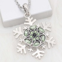 20MM snap silver Plated with green Rhinestone KC8287