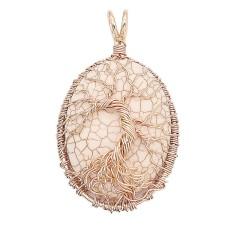 Naturstein Anhänger Halskette Weiß Türkis