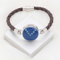 20MM snap silver Plated with Planned blue enamel and Rhinestone KC8290