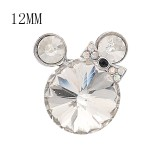 12MM Cartoon snap plaqué argent avec charms strass blancs KS7182-S
