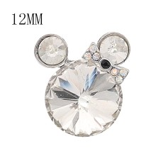 12MM Cartoon Snap Versilbert mit weißen Strass Charms KS7182-S