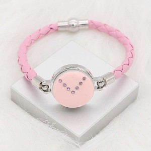 20MM snap silver Plated with Planned Pink enamel and Rhinestone KC8292